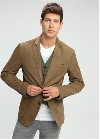 Kahverengi Kelebek Yaka Düğmeli Süet Blazer Ceket