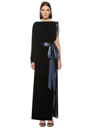ALEXANDRE VAUTHIER Kuşaklı Lacivert Kadife Maksi Elbise