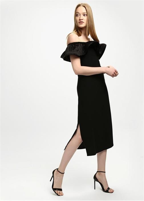 Siyah Omzu Açık Krep Midi Elbise