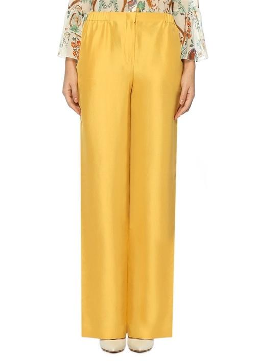 Sarı Yüksek Bel Bol Paça İpek Pantolon