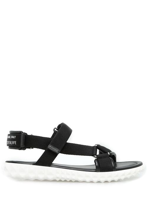 Valentino Garavani Siyah Logolu Erkek Sandalet