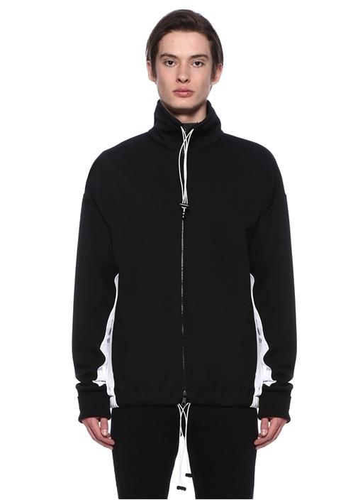 Siyah Beyaz Şeritli Sweatshirt