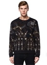 Siyah Bisiklet Yaka Uzay Baskılı Sweatshirt