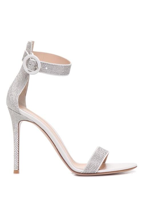 Lennox Silver Taş Işlemeli Kadın Deri Sandalet