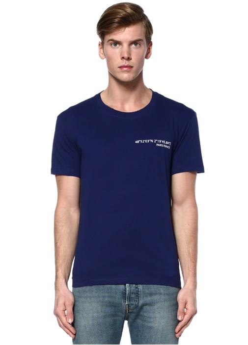 Mavi Bisiklet Yaka Arkası Metalik Yazılı T-shirt