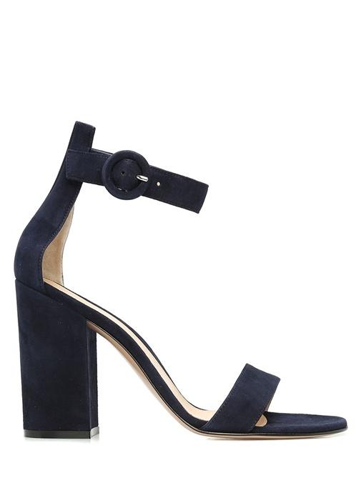 Lacivert Bantlı Kadın Süet Sandalet
