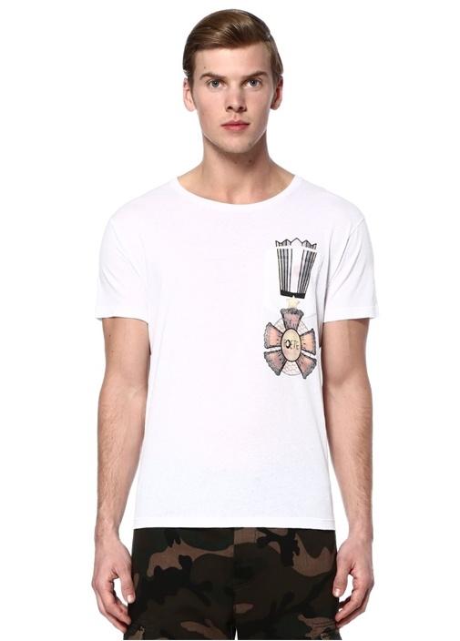 Beyaz Bisiklet Yaka Cepli Baskılı BasicT-shirt
