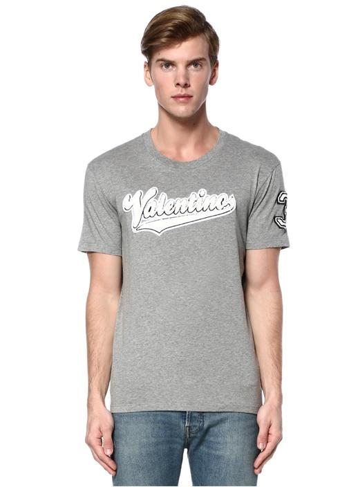 Gri Melanj Bisiklet Yaka Logolu Basic T-shirt