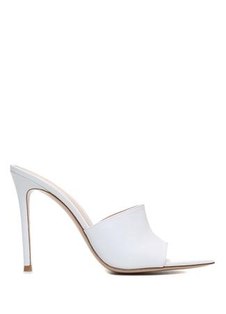 Kadın Beyaz Kalın Tabanlı Deri Topuklu Ayakkabı 36 EU