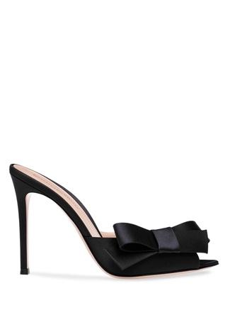 Kadın Siyah Fiyonk Detaylı Deri Topuklu Ayakkabı Yeşil 39 EU