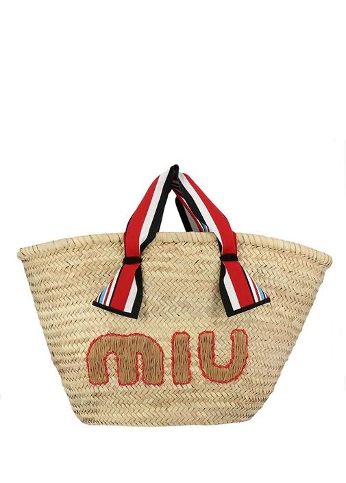 Bej Logo Nakışlı Kadın Hasır Çanta