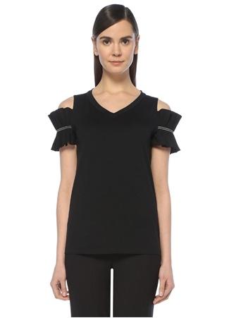 Brunello Cucinelli Kadın Siyah V Yaka Omuzu Açık Zincir Detaylı -shirt XS Ürün Resmi