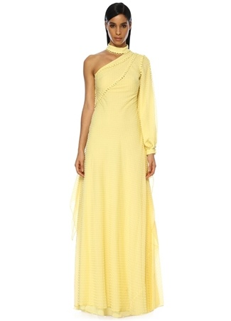 Costarellos Kadın Sarı ek Kollu Kadife Puanlı Maksi Şifon Elbise 40 FR Ürün Resmi