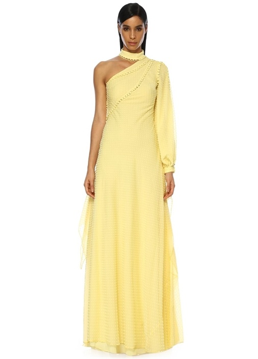Sarı Tek Kollu Kadife Puanlı Maksi Şifon Elbise