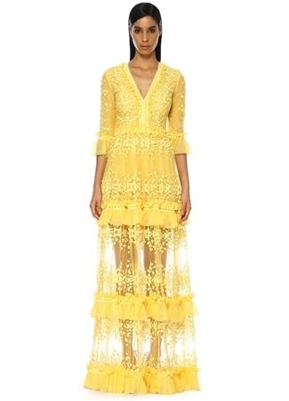 Costarellos Kadın Sarı V Yaka Çiçek Nakışlı Maksi Şifon Elbise 40 FR Ürün Resmi