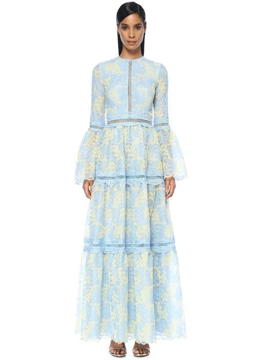 Mavi Sarı Nakışlı Güpür Dantelli Maksi Tül Elbise