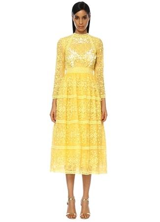 Costarellos Kadın Sarı Çiçek Nakışlı Midi ül Kokteyl Elbise 36 FR Ürün Resmi