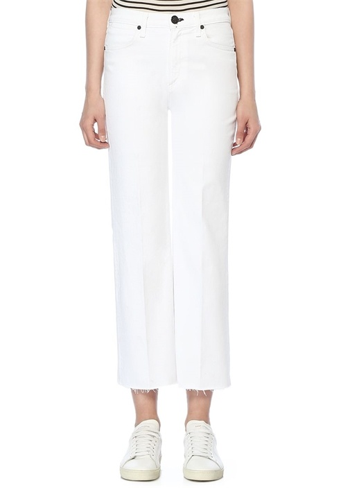 Justine Beyaz Bol Paça Crop Jean Pantolon