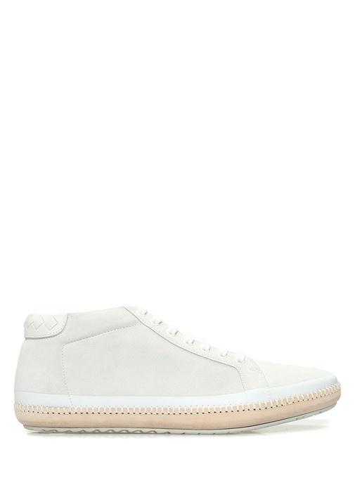 Bottega Veneta Beyaz ERKEK  Beyaz Örgü Doku Detaylı Erkek Süet Sneaker 485609 Beymen