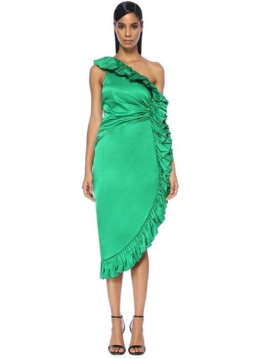 Yeşil Asimetrik Fırfırlı Midi Saten Elbise