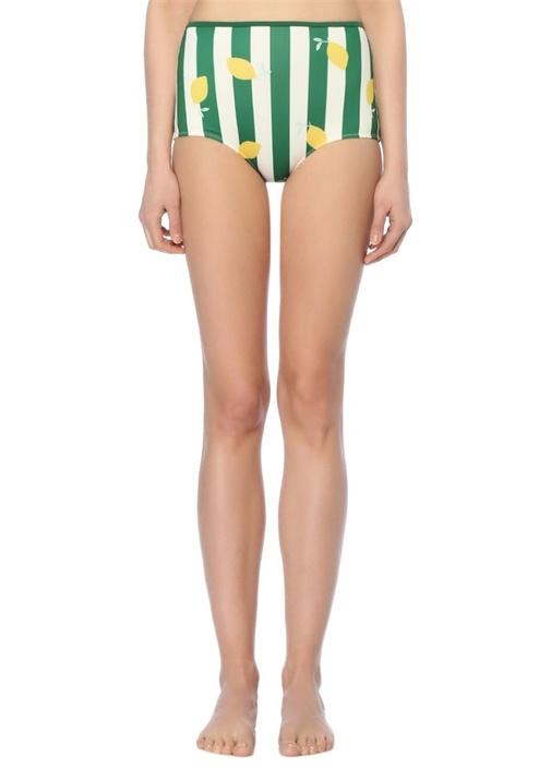 Brigitte Yeşil Çizgili Yüksek Bel Bikini Altı