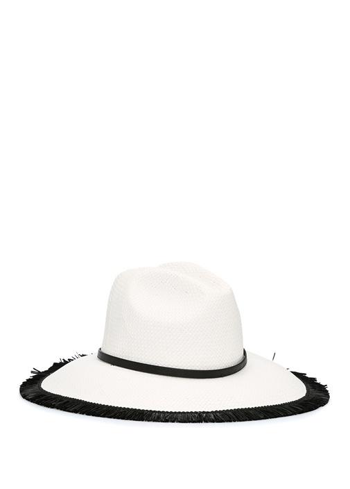 Beyaz Püskül Detaylı Kadın Şapka
