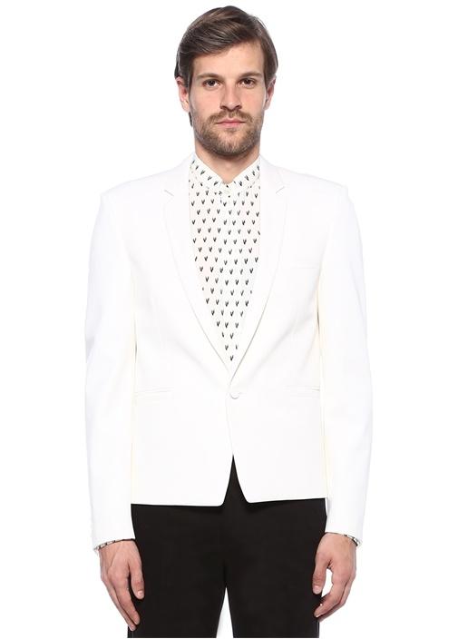 Beyaz Düğme Kapatmalı Blazer Ceket