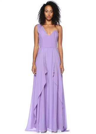 Roland Mouret Kadın Lila ek Omuzlu Drapeli Maksi İpek Elbise Mor 12 US Ürün Resmi