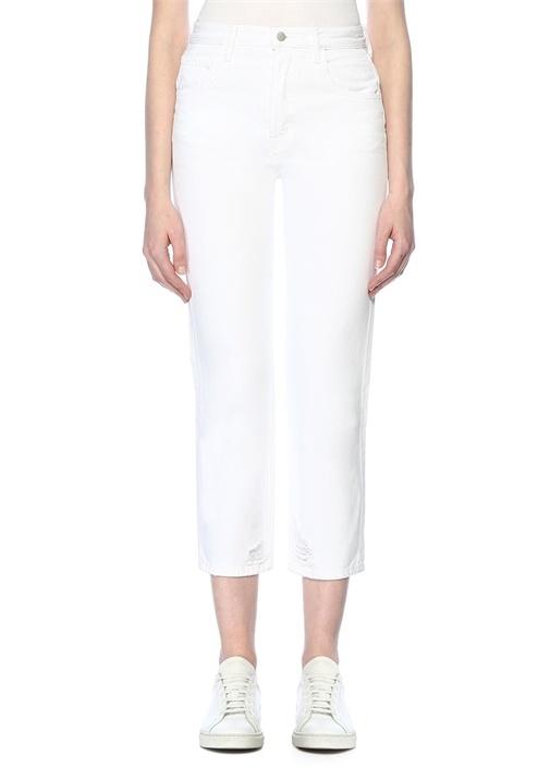 Beyaz Yüksek Bel Crop Jean Pantolon