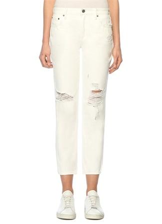 Muse Beyaz Normal Bel Düz Paça Jean Pantolon