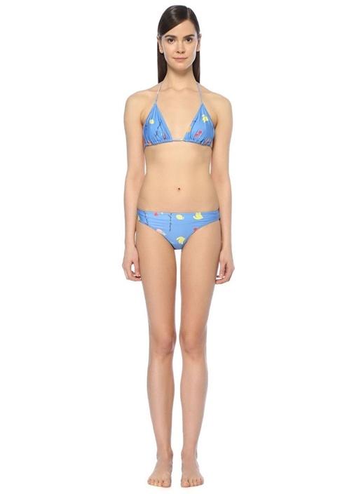 Dexies Mavi Baskılı Üçgen Bikini Takımı