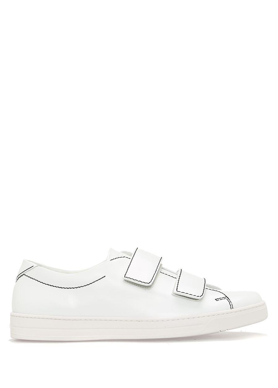 Prada Sport Beyaz ERKEK  Beyaz Bantlı Deri Erkek Sneaker 356503 Beymen