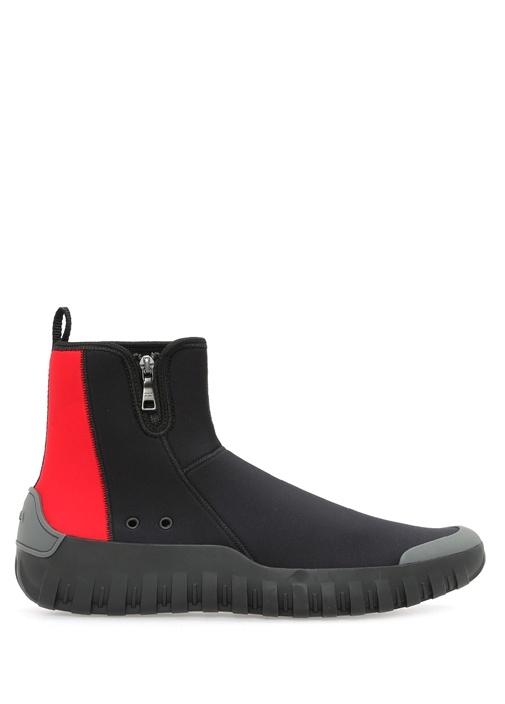 Siyah Kırmızı Deri Erkek Sneaker