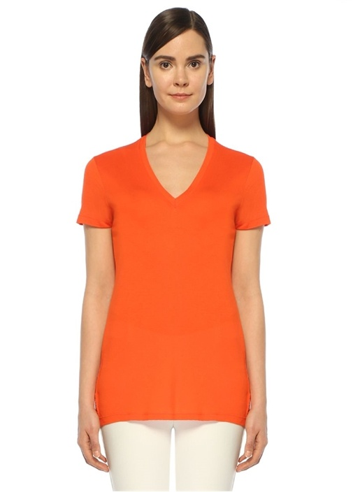 Mercan Standart Fit V Yaka Basic Tshirt