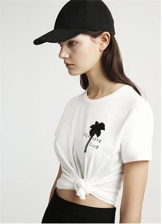 Ekru Palmiye Nakışlı Basic T-shirt