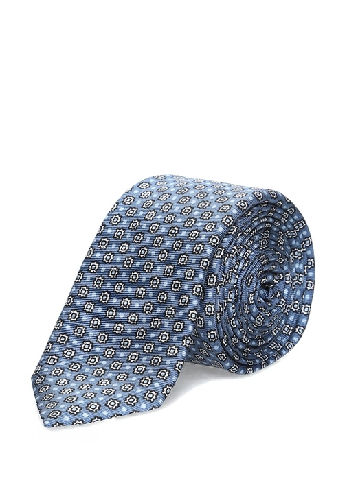 Mavi Mikro Çiçek Desenli İpek Erkek Kravat