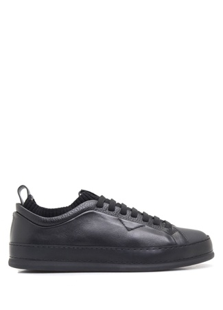 Siyah Logolu Rib Detaylı Erkek Deri Sneaker