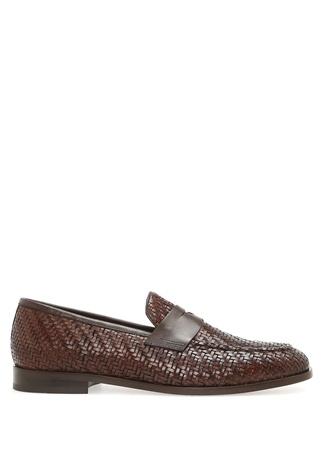 Kahverengi Örgü Dokulu Kemerli Erkek Deri Ayakkabı