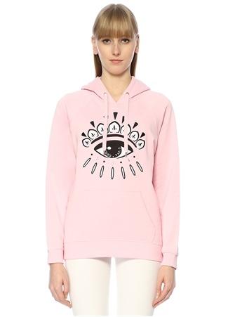 Kenzo Kadın Pembe Kapüşonlu Göz Nakışlı Sweatshirt XS