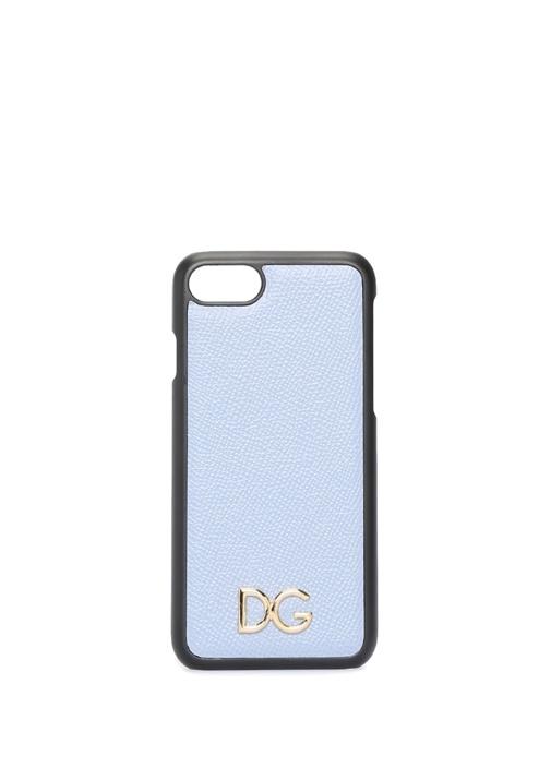 Mavi Gold Logolu iPhone 7 8 Deri Telefon Kılıfı