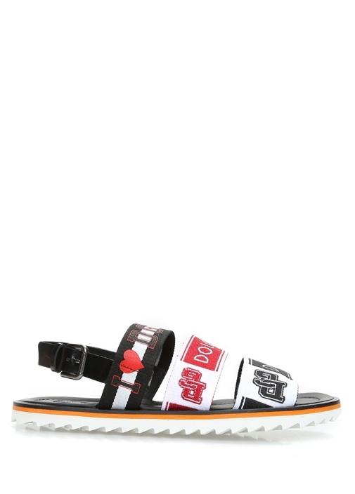 Dolce&Gabbana Çok Renkli ERKEK  Siyah Logolu 3 Bantlı Erkek Sandalet 473019 Beymen