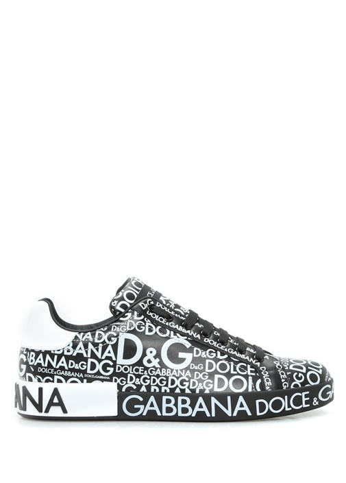 Portofino Aplikeli Deri Siyah Erkek Sneaker