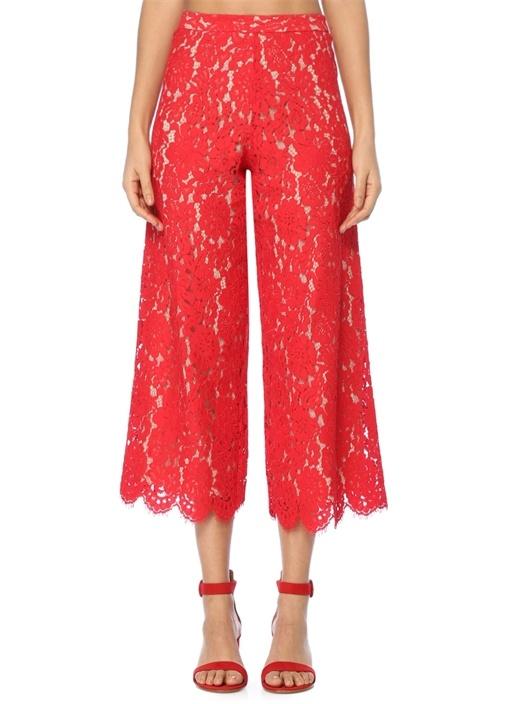 Kırmızı Dantelli Cropped Pantolon