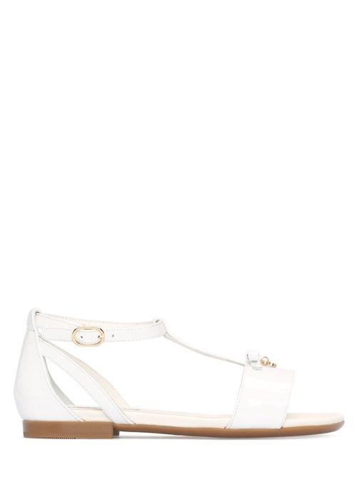 Beyaz Bantı Kız Çocuk Deri Sandalet