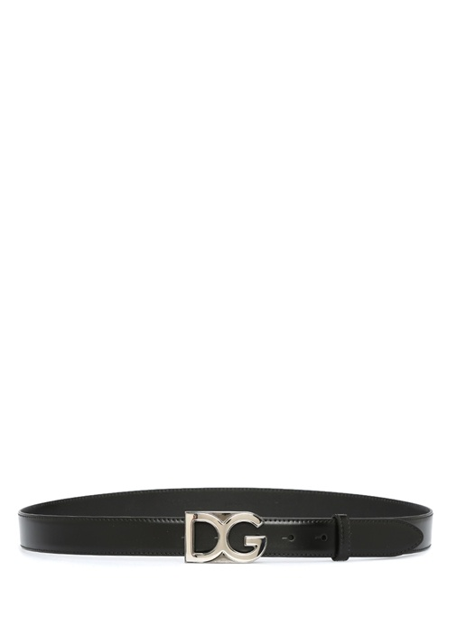 Siyah Silver Logo Formlu Tokalı Erkek Deri Kemer