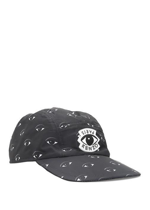 Siyah Gözlü Logolu Erkek Şapka