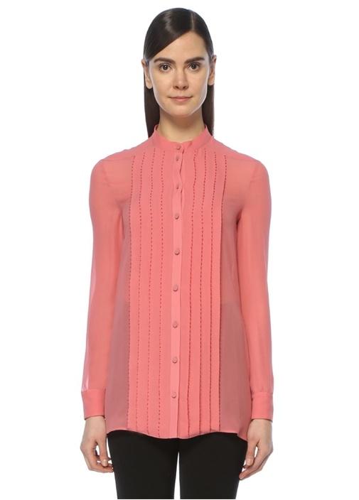 Pembe Boncuk İşlemeli İpek Gömlek