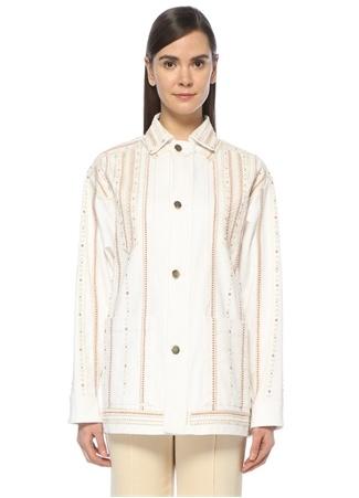 Beyaz Etnik Desenli Gold Düğmeli Jean Ceket
