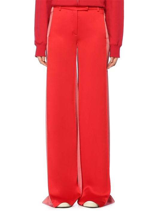 Kırmızı Yüksek Bel Colorblocked Bol Paça Pantolon