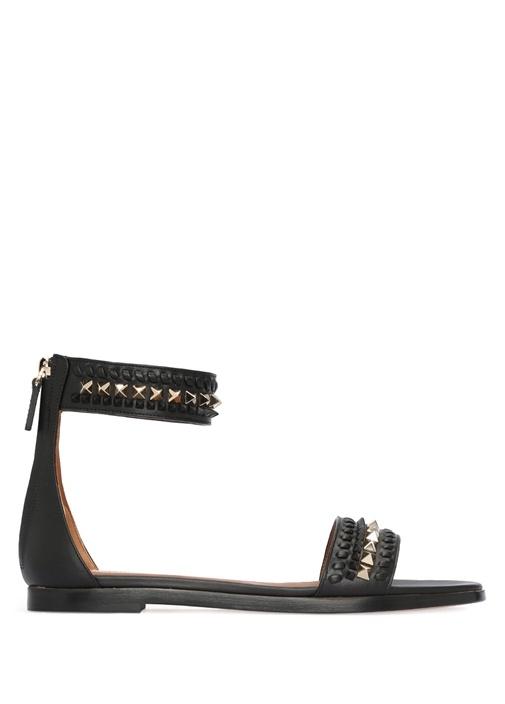 Valentino Garavani Siyah Rockstud Sandalet